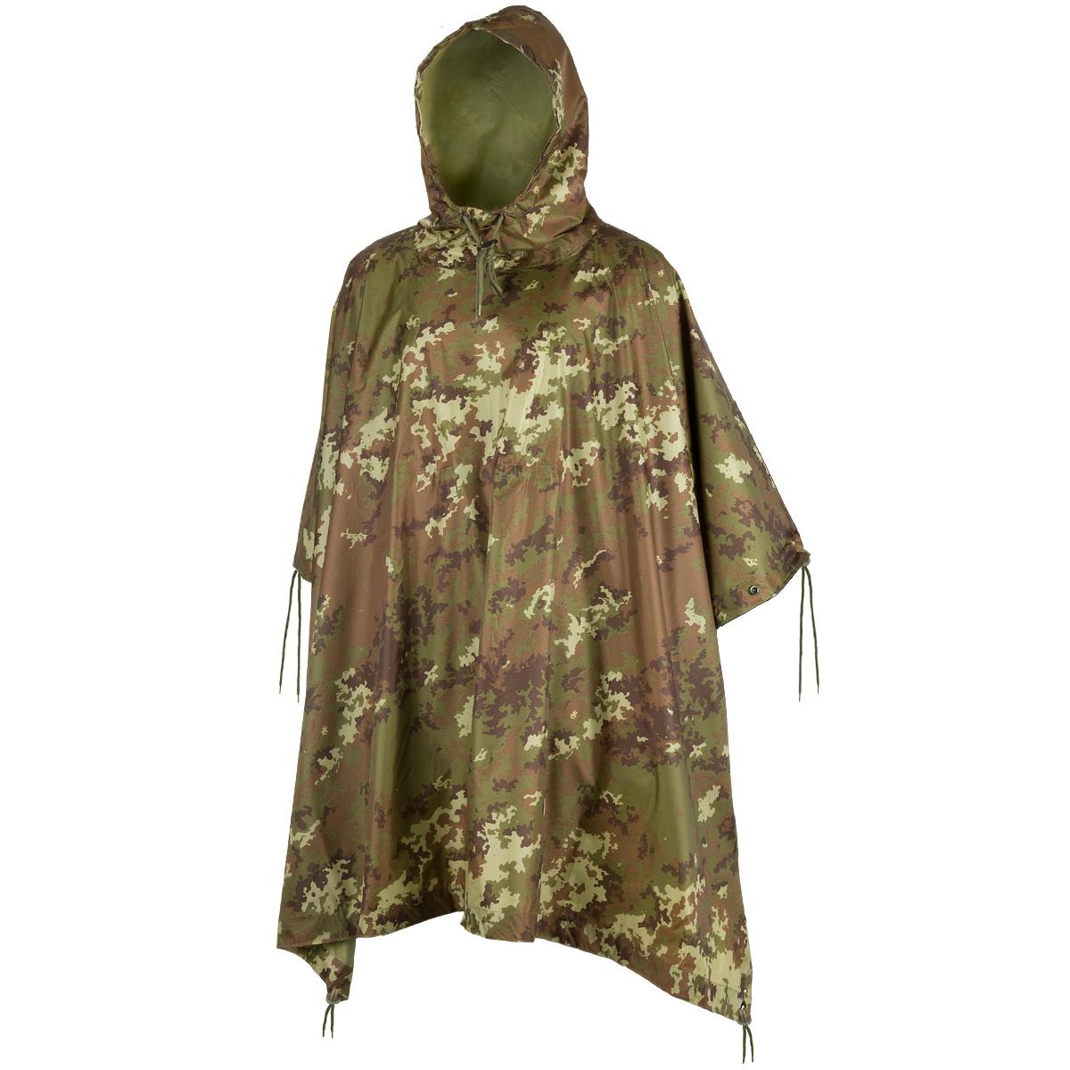 Waterproof Hooded Rain Ripstop Poncho Woodland Camo by Mil-Tec