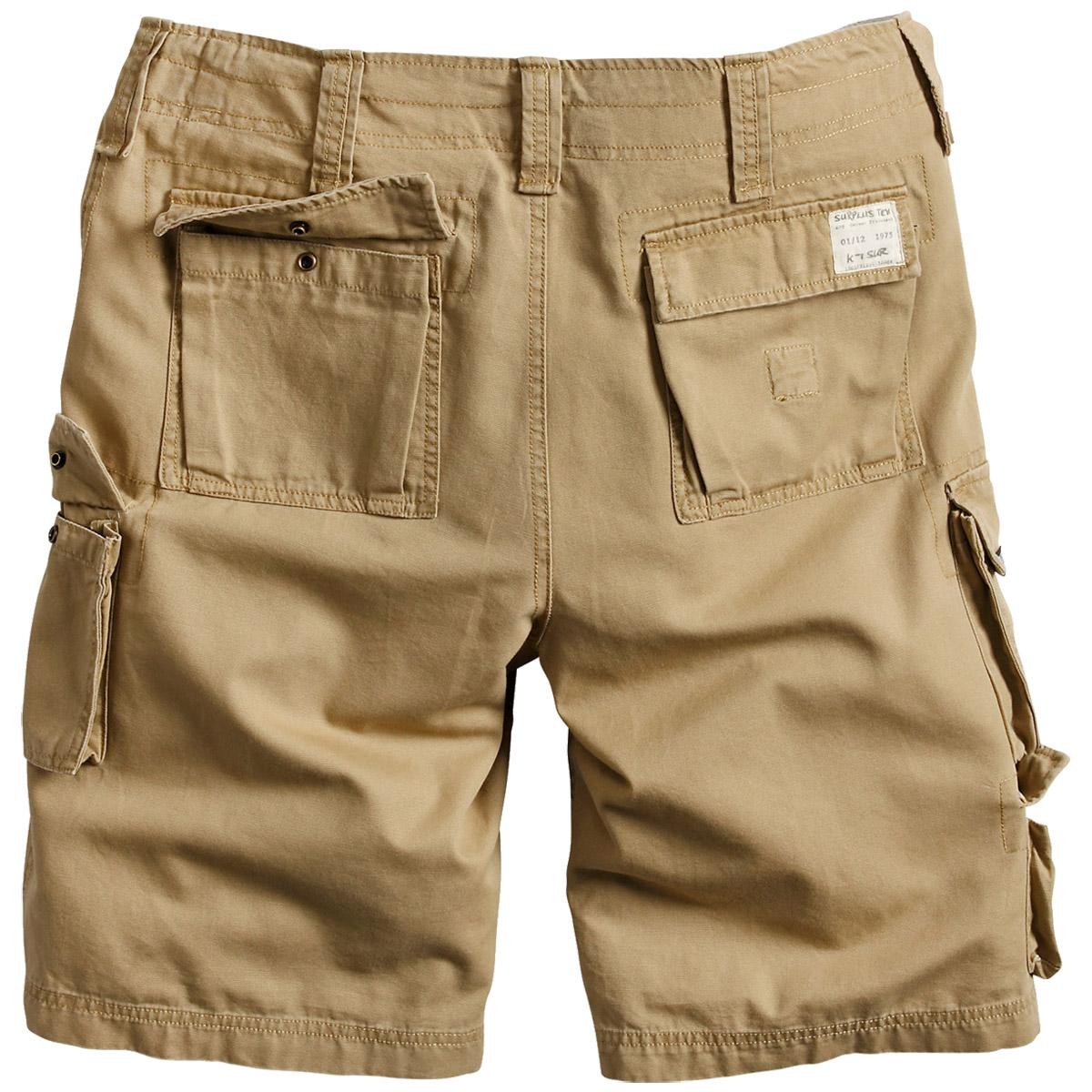 Surplus Trooper Combat Shorts Mens Cargo Bermudas Cotton Summer Olive Washed
