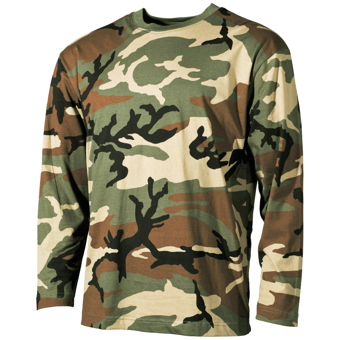 e6193104b502 Details about Us Style Combat Army Military Mens Long Sleeve T-Shirt  Woodland Camouflage S-Xxl