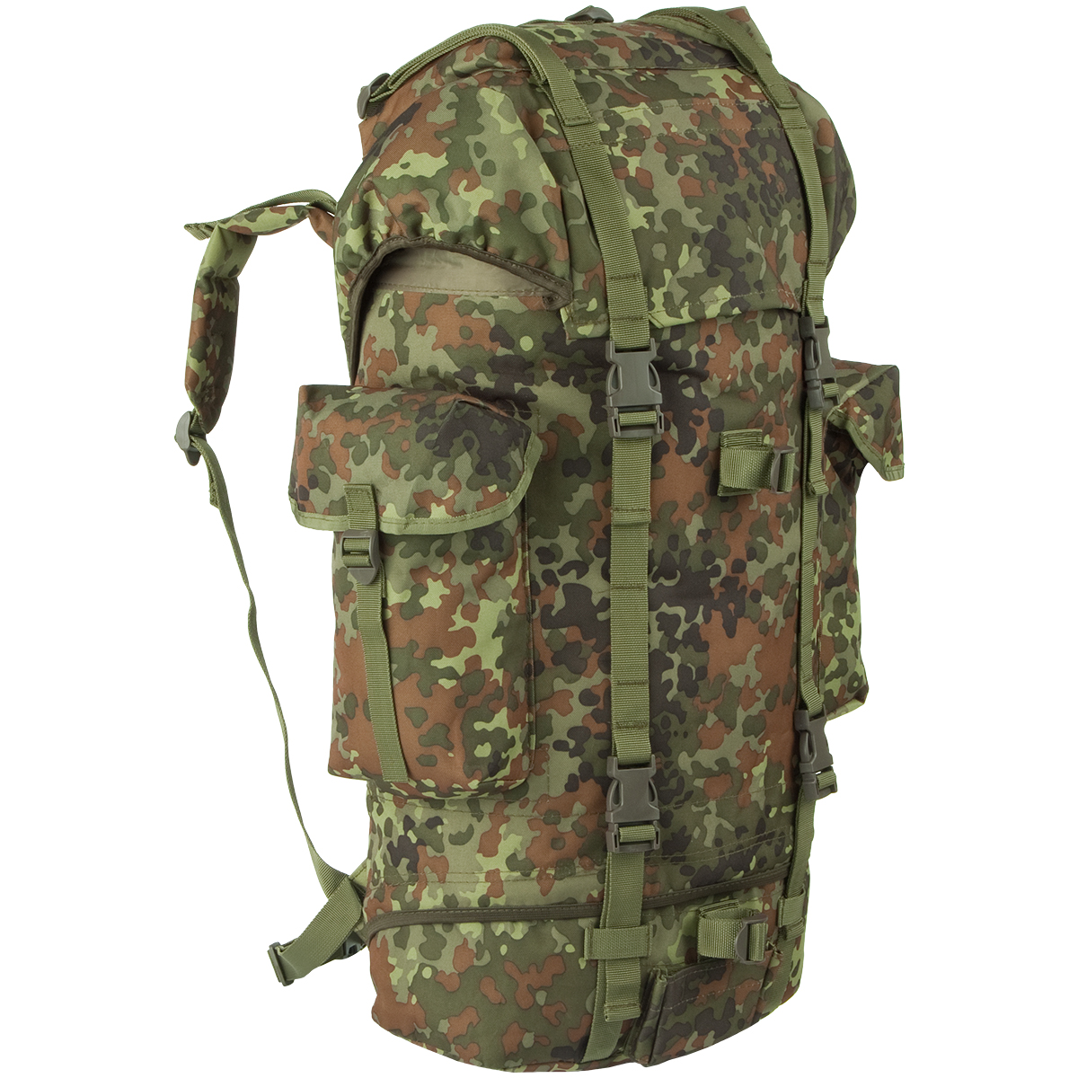 34cee78556c Details about German Army Patrol Pack Hiking Rucksack Military Backpack 65L  Flecktarn Camo