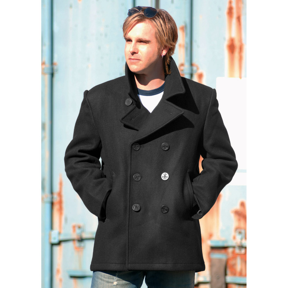 Vintage Style US Navy Pea Coat Mens Jacket Classic Army Reefer ...