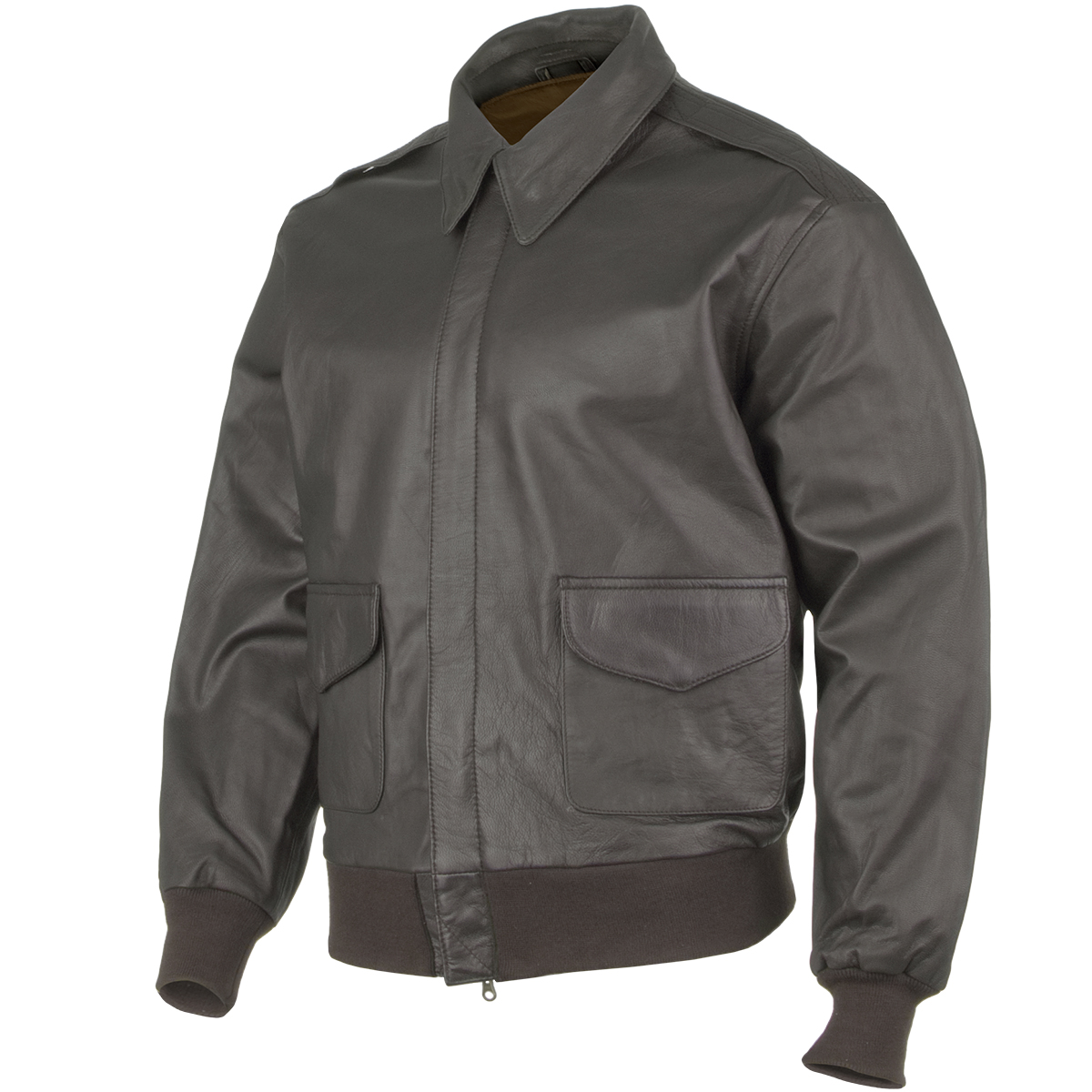 Brown leather flying jacket