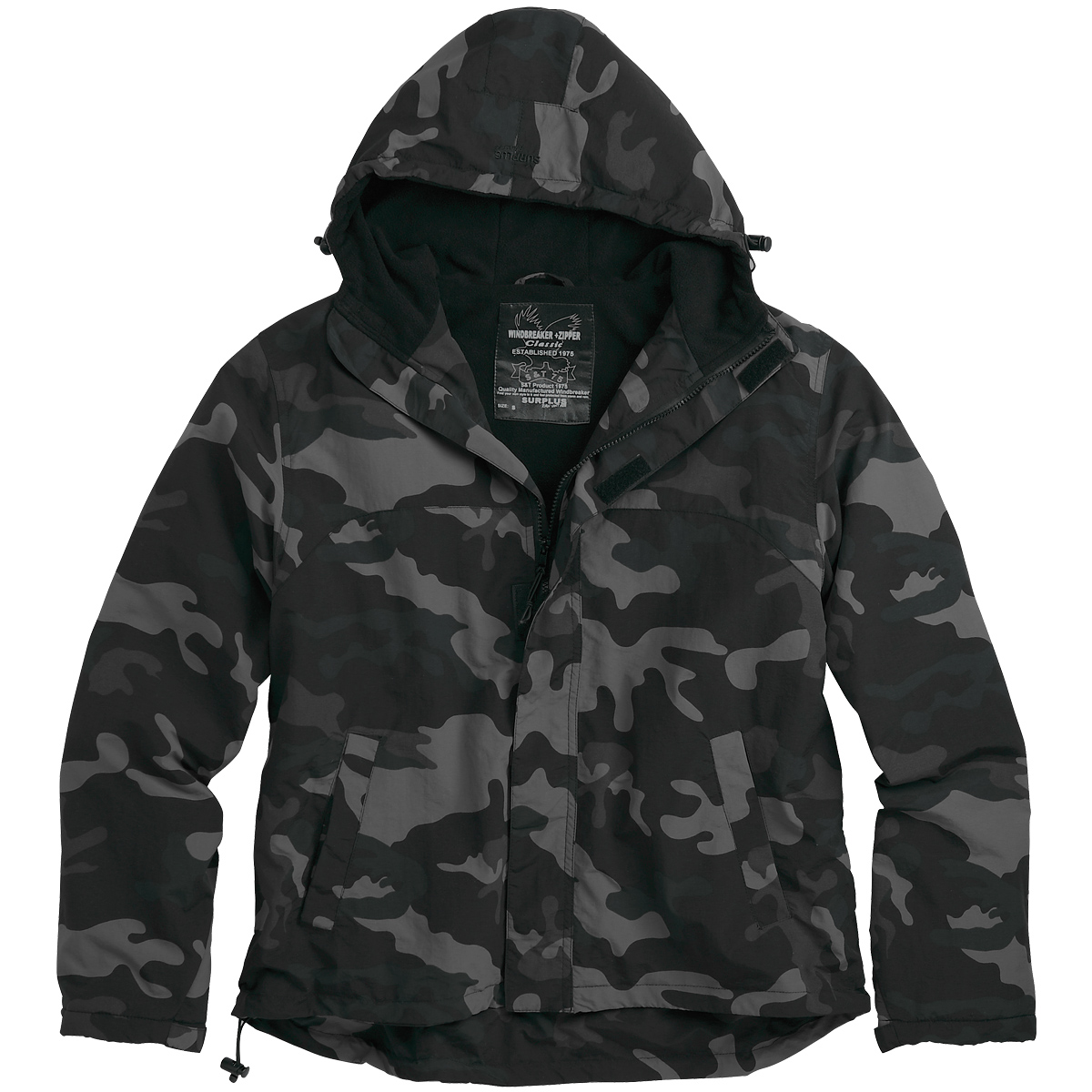 d0bfadff587a1 Details about SURPLUS MENS WINDBREAKER HOODED JACKET with FLEECE LINING  BLACK CAMOUFLAGE S-XXL
