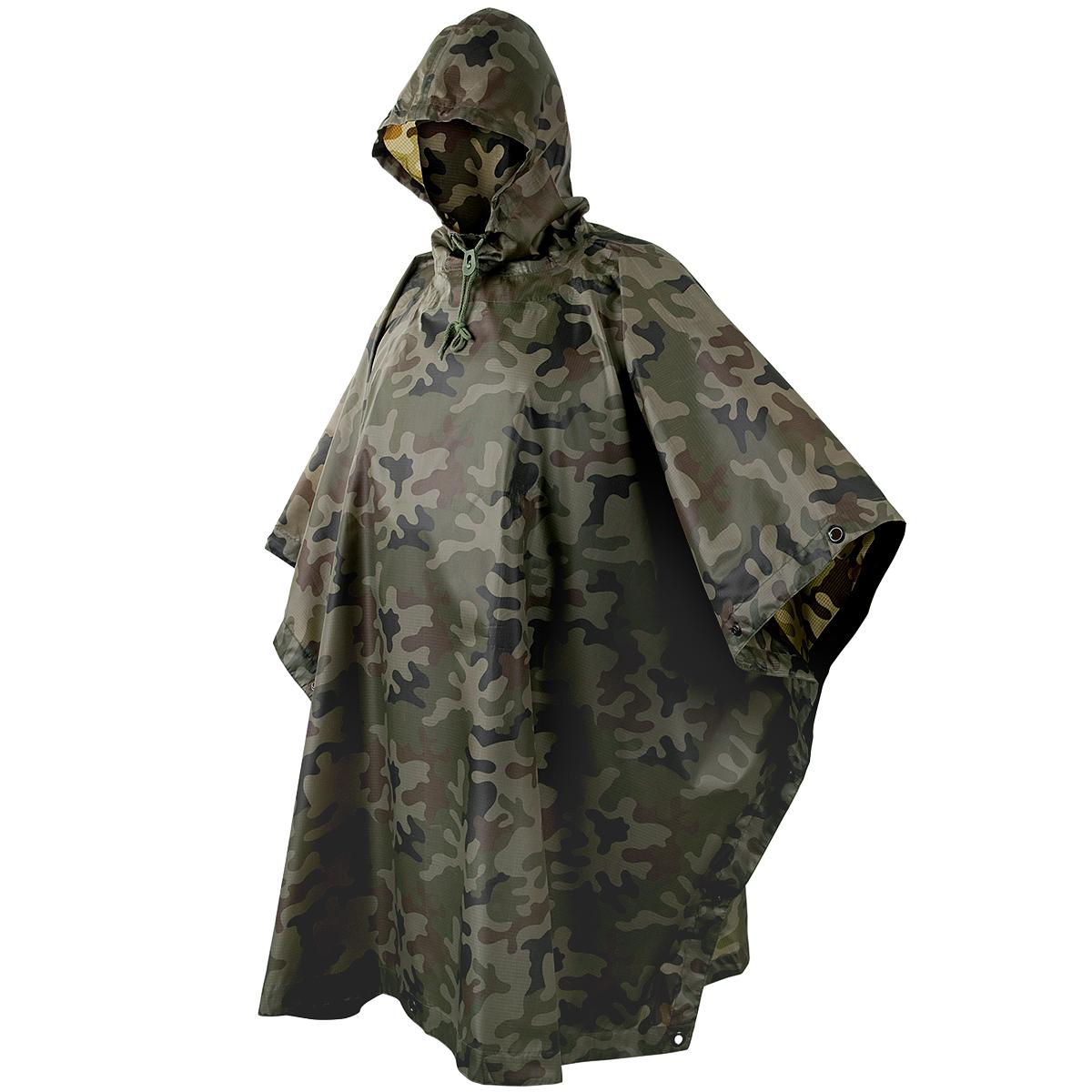 Hooded Ripstop Waterproof Military Poncho Army Festival Helikon Woodland Camo