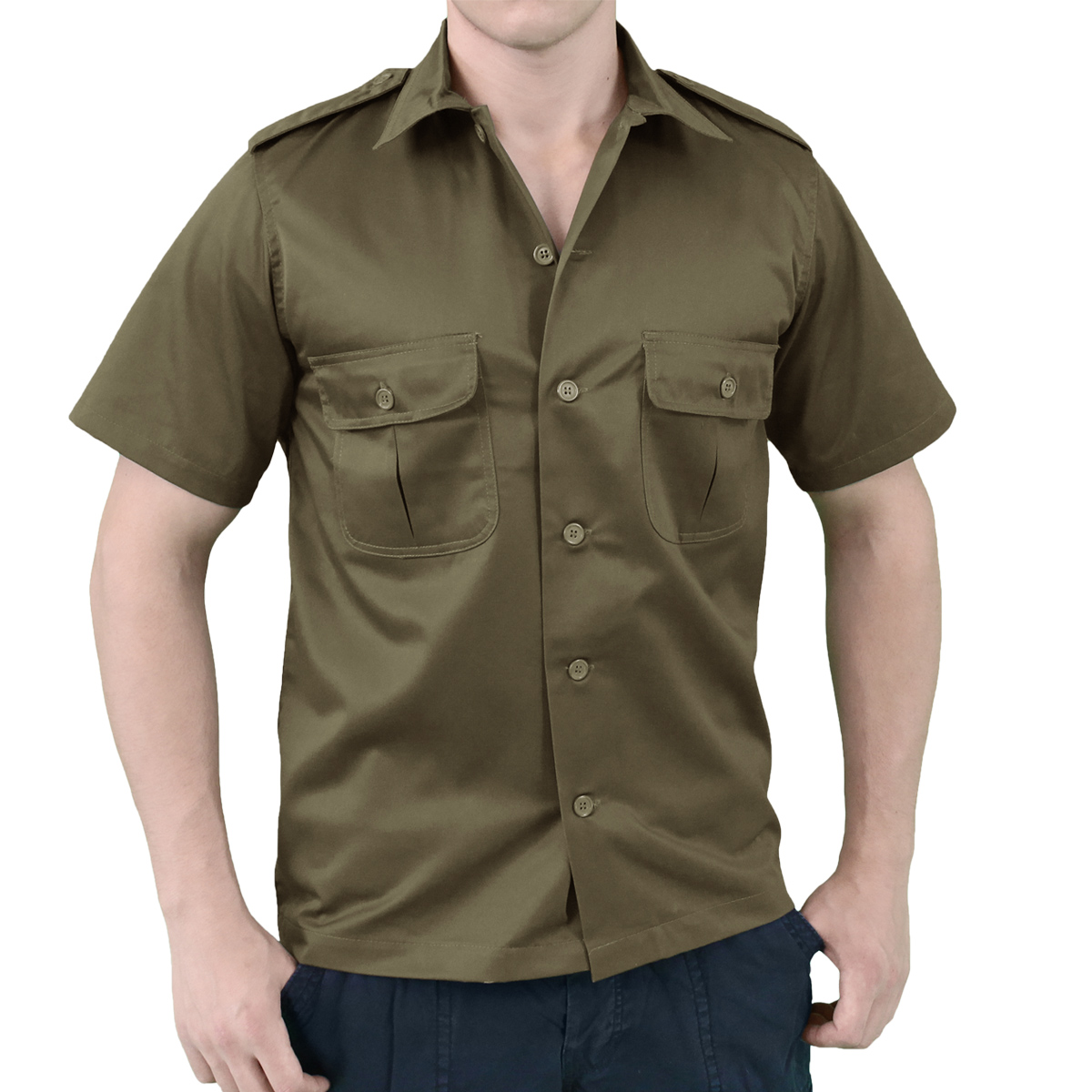 SURPLUS US TACTICAL SHORT SLEEVE MENS SHIRT MILITARY SECURITY GUARD OLIVE S-XXL