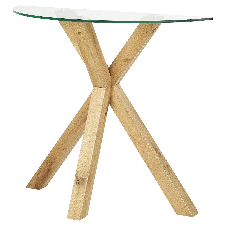Sentinel Tesco Hattrell Modern Style Console Oak Glass Top Table H80xw93xd36cm