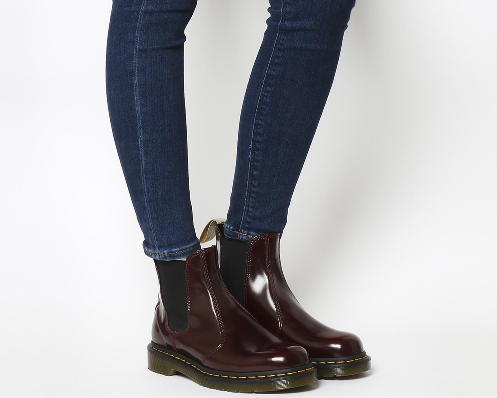7c5cce24 SENTINEL Womens Dr. Martens Vegan 2976 CHERRY Chelsea Boots Stivali