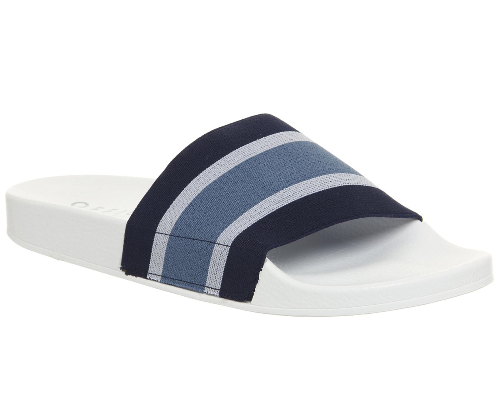 84b306e19125 Sentinel Mens Office Flume Elastic Slides Navy Stripe Sandals