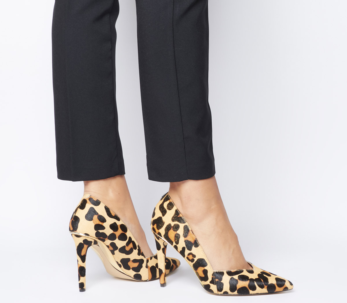 nueva llegada f1f21 d4b88 Detalles de Mujer office Harlequinn Cintura Tribunal Tacones Leopardo Pony  con Oro Tacones
