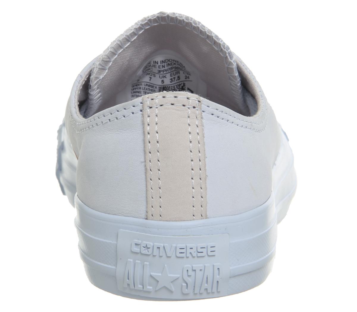 Womens Converse All Star Low Leather Trainers Blue Tint Pale Quartz ... c6310e52d5d6
