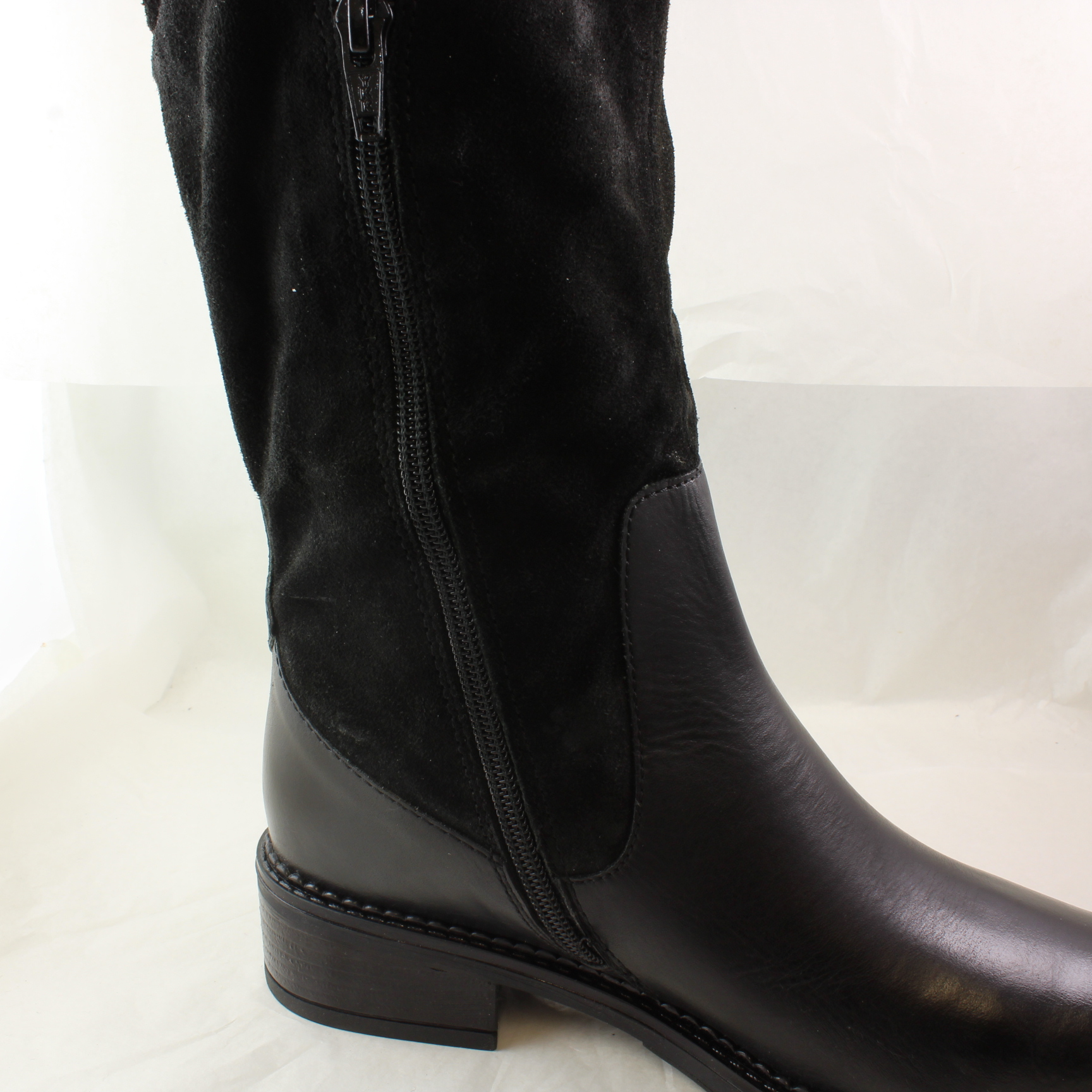 womens office black leather knee high boots uk size 3 ex