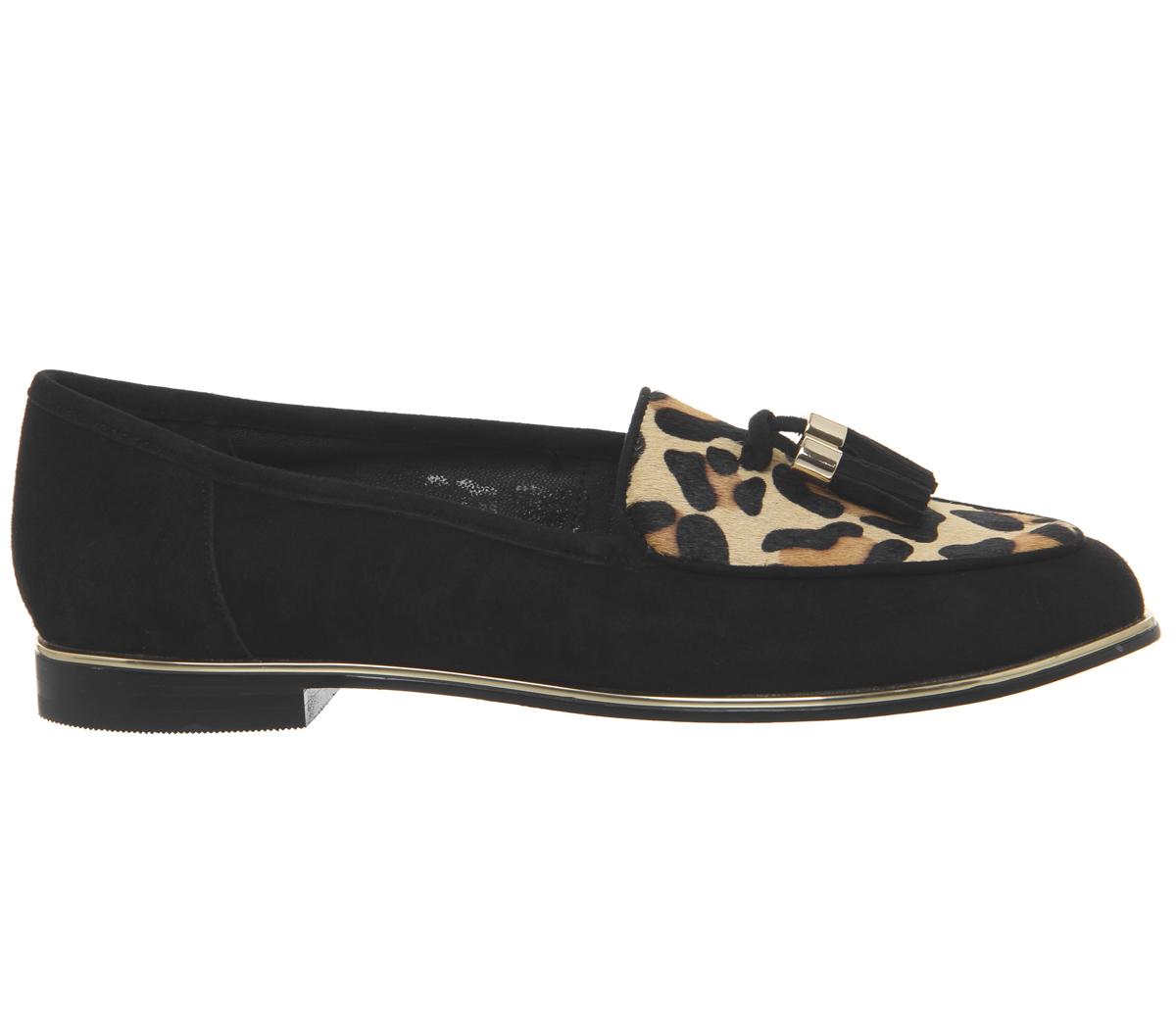 Damenschuhe Office Fallen Tassel Loafers BLACK SUEDE LEOPARD LEOPARD SUEDE EFFECT Flats 406a77