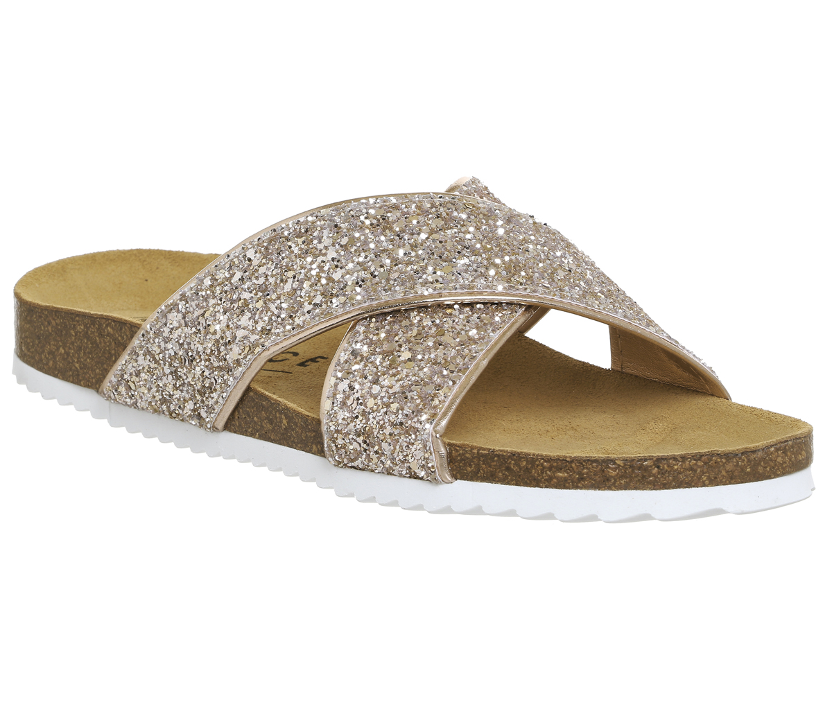 7217ae8e1c75 Womens Office Hoxton 2 Sandals ROSE GOLD GLITTER Sandals