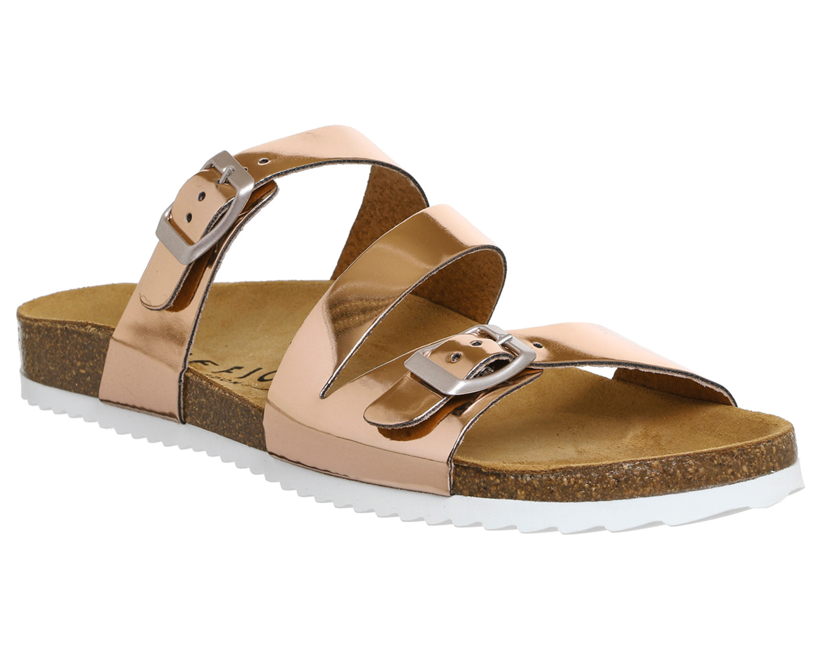 Womens Office Bounty Cross Strap Footbed ROSE GOLD Sandals