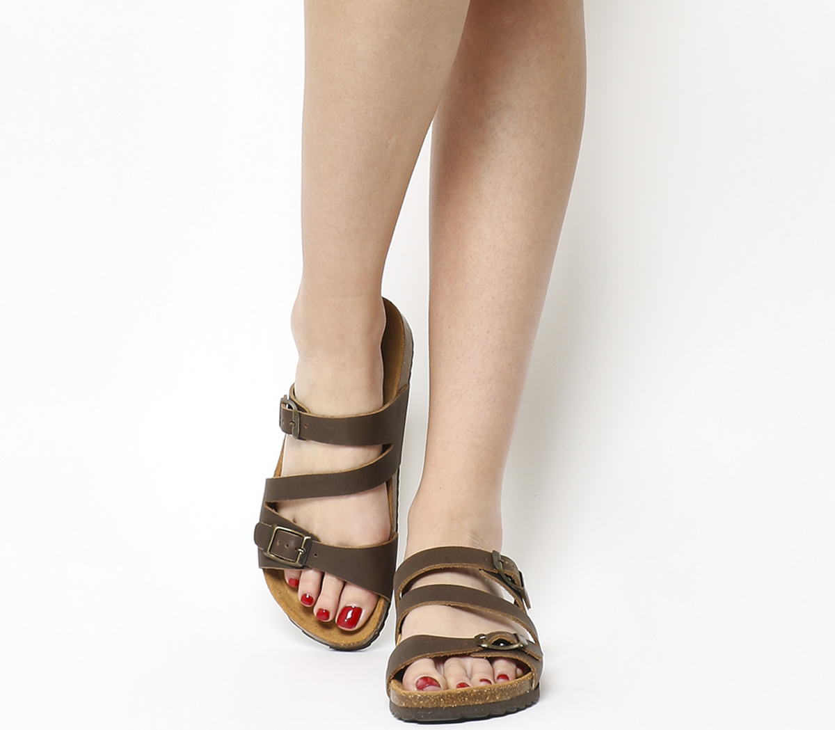 5ca4b0ae60245 Details about Womens Office Bounty Cross Strap Footbed Sandals Brown  Leather Sandals