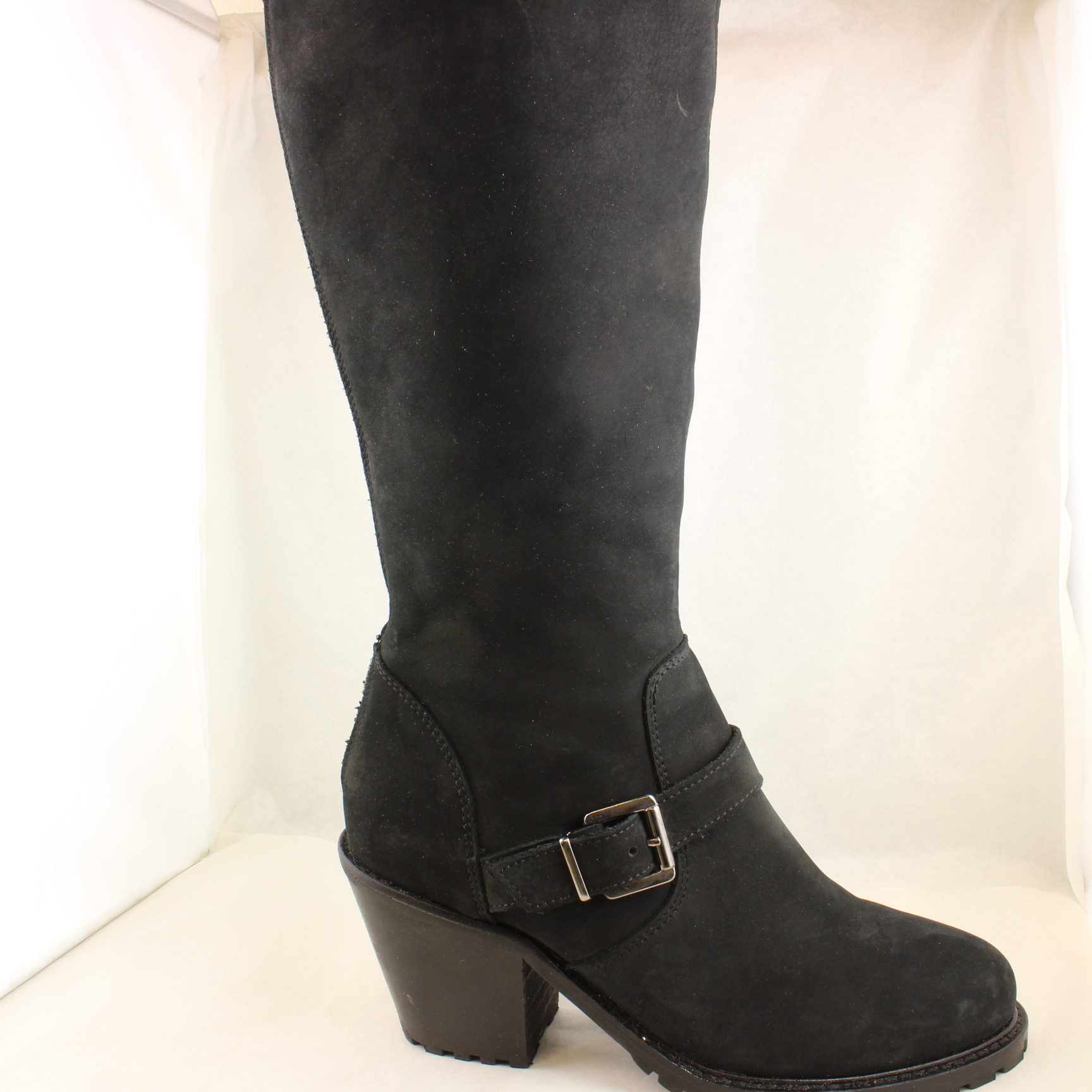 womens office black leather knee high boots uk size 5 ex