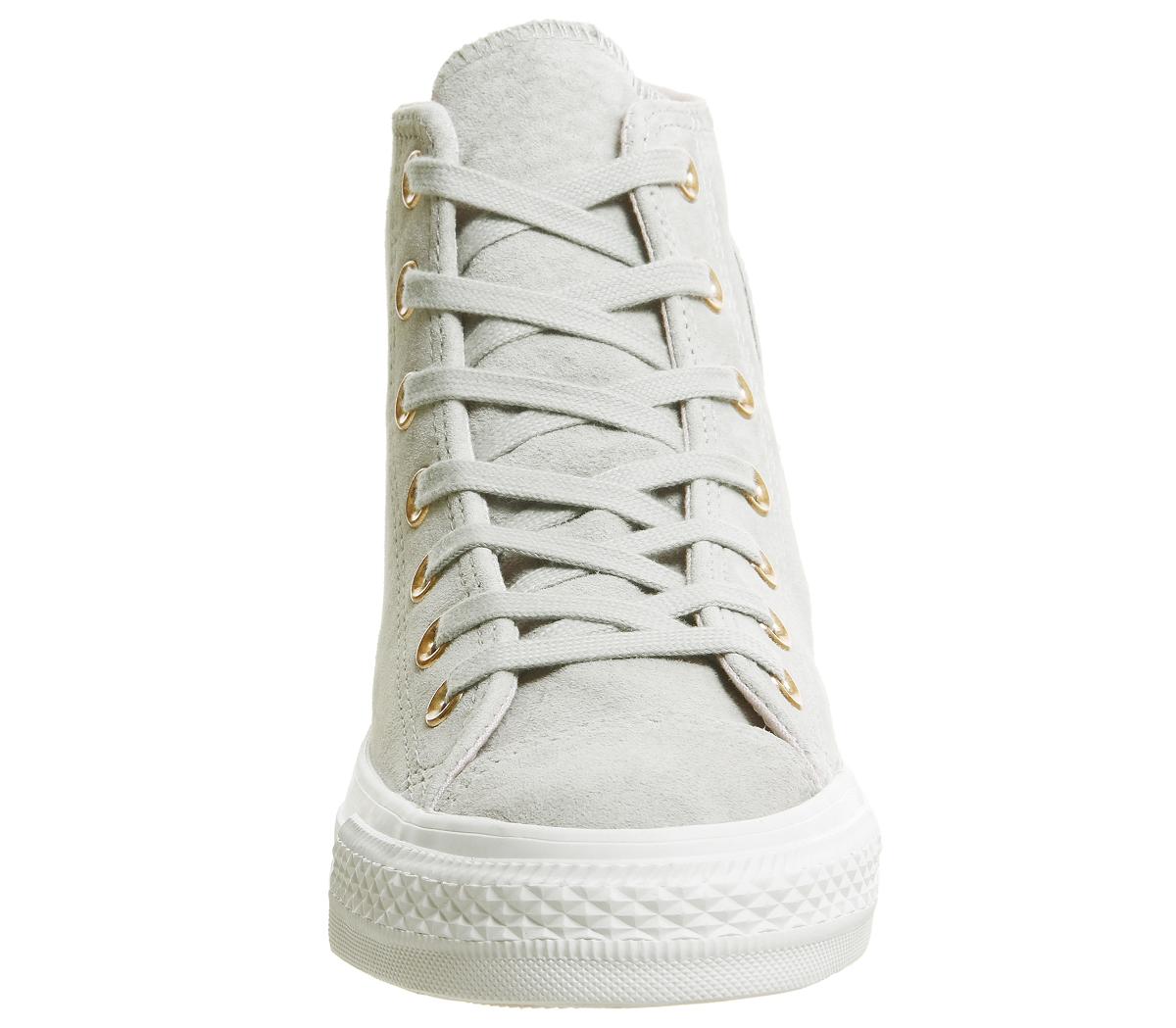 ef3b2aeadbdc0 Chaussures Femme Converse All Star Hi Cuir Ash Gris À Peine Blanc ...