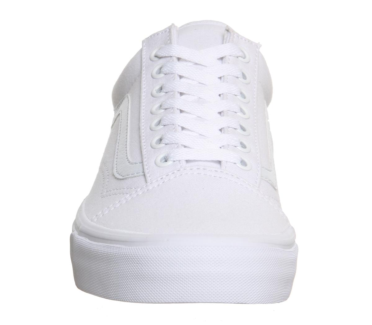 Homme Vans Old Skool toile Baskets Blanc Mono Baskets Chaussures  f8ec07f46
