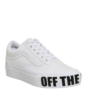 7d91bf0ca7 Womens Vans Old Skool Platforms WHITE OFF THE WALL Trainers Shoes