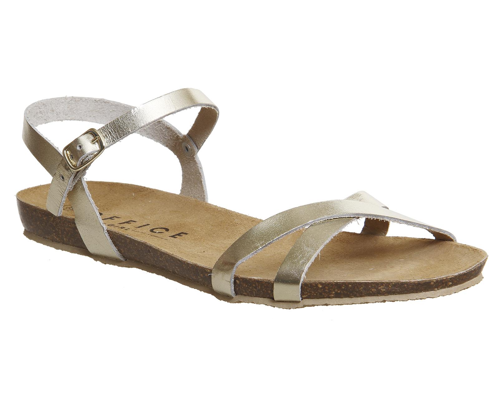 Womens-Office-Safari-Cross-Strap-Sandals-GOLD-LEATHER-