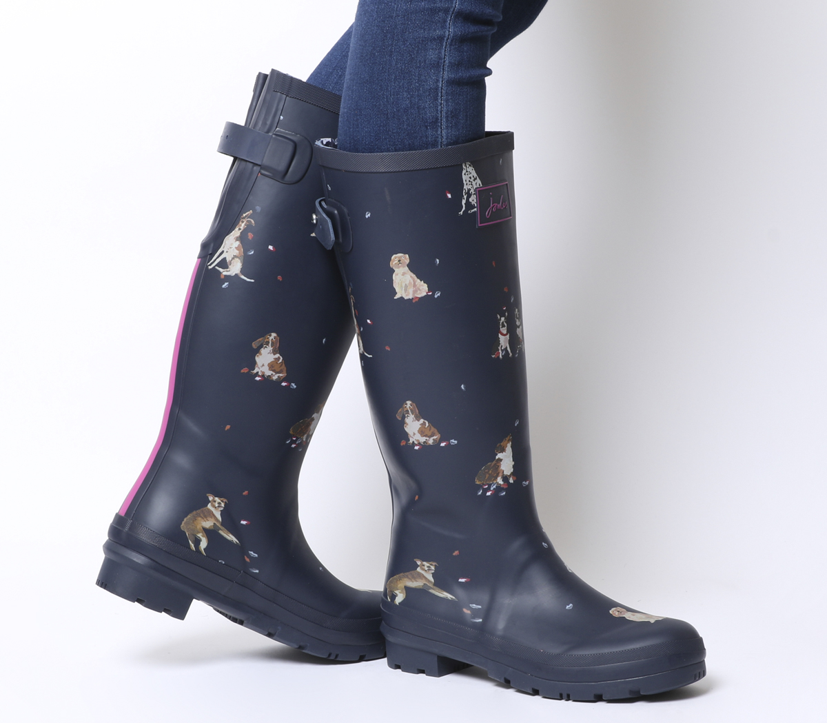 Sentinel Womens Joules Welly Print Wellies French Navy Dogs Leaves Boots 36eb9dce8