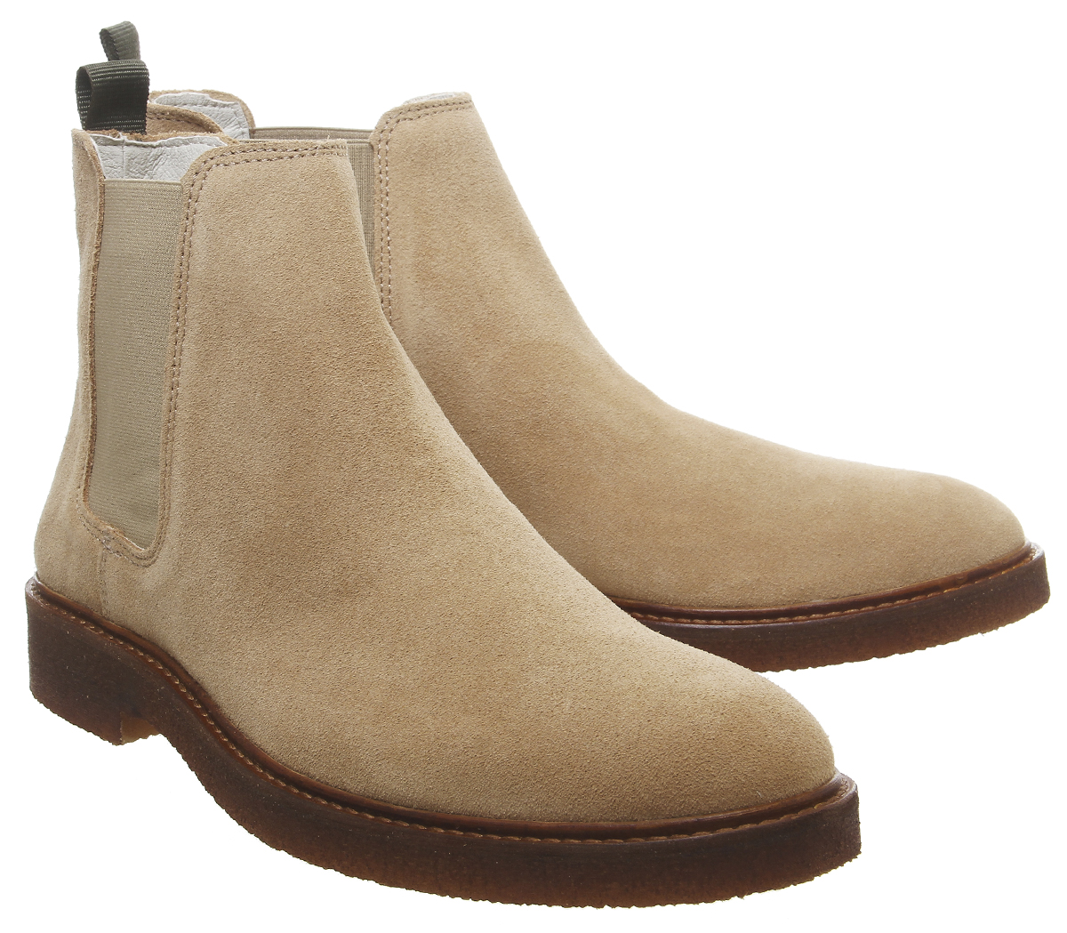 Mens-Office-Locked-Chelsea-Boots-Beige-Suede-Boots thumbnail 13