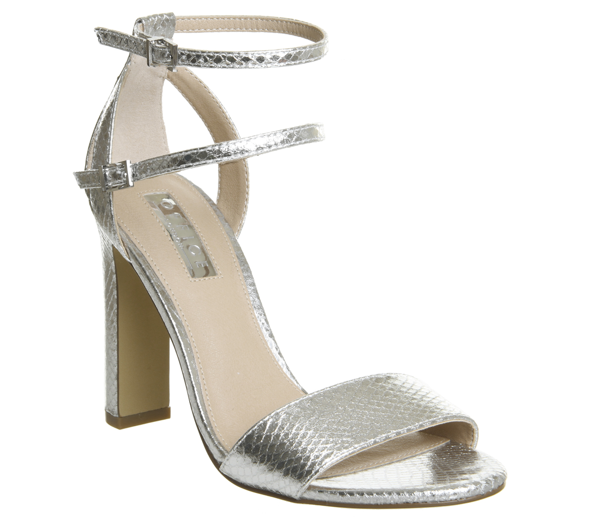 Womens Office Hypnotize Heels With With With Ankle Straps SILVER Heels 0c7d05