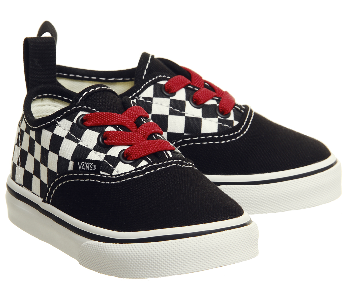 780bca98dd5e Kids Vans Authentic Toddlers Trainers Black Red True White ...