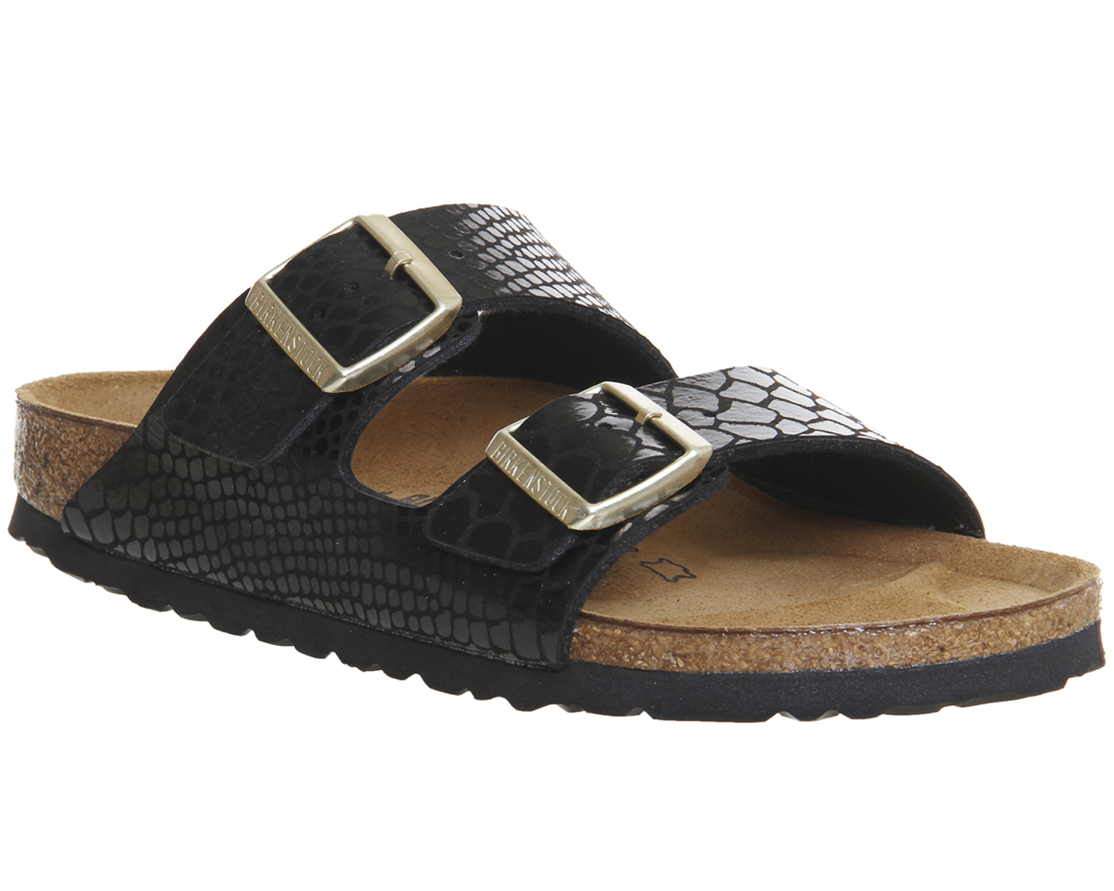 f9a318a7939 Sentinel Womens Birkenstock Arizona Two Strap SHINY SNAKE BLACK Sandals