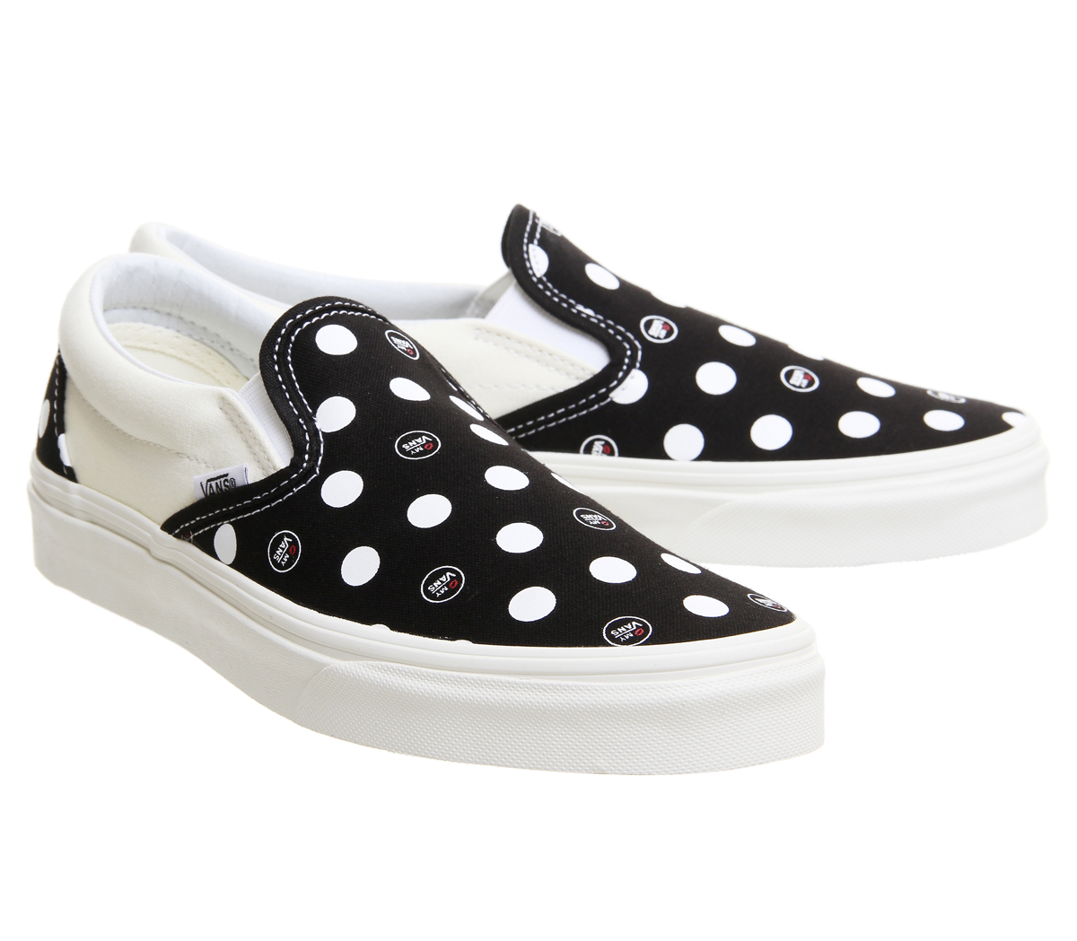 96d9b13727 Vans Vans Classic Slip On Trainers Logo Black Marshmellow Exclusive ...