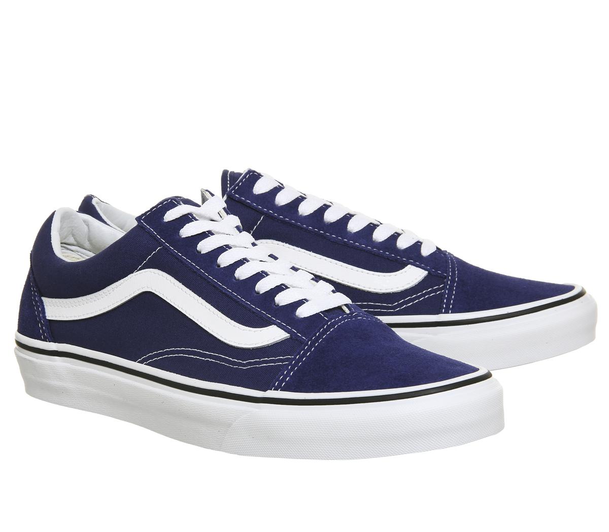 Mens Vans Old Skool Trainers ESTATE Blau TRUE WEISS Trainers Schuhes