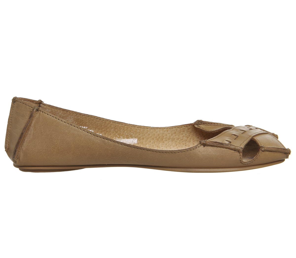 53287b313 Womens Office Face To Face Peep Toe Flats Tan Leather Flats | eBay