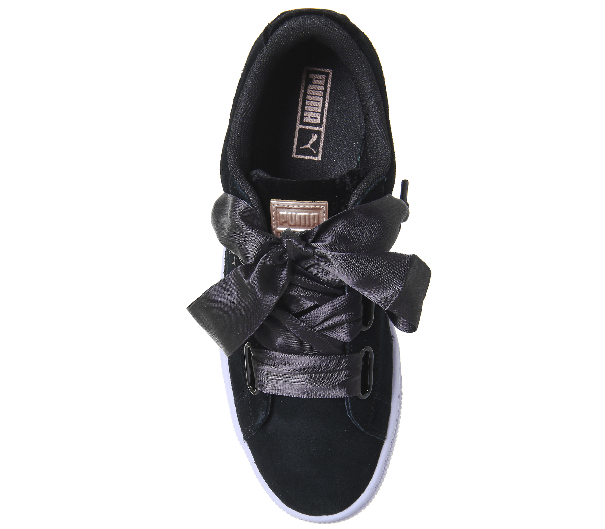 22f0886e93d Sentinel Womens Puma Suede Heart Trainers BLACK GOLD VR Trainers Shoes