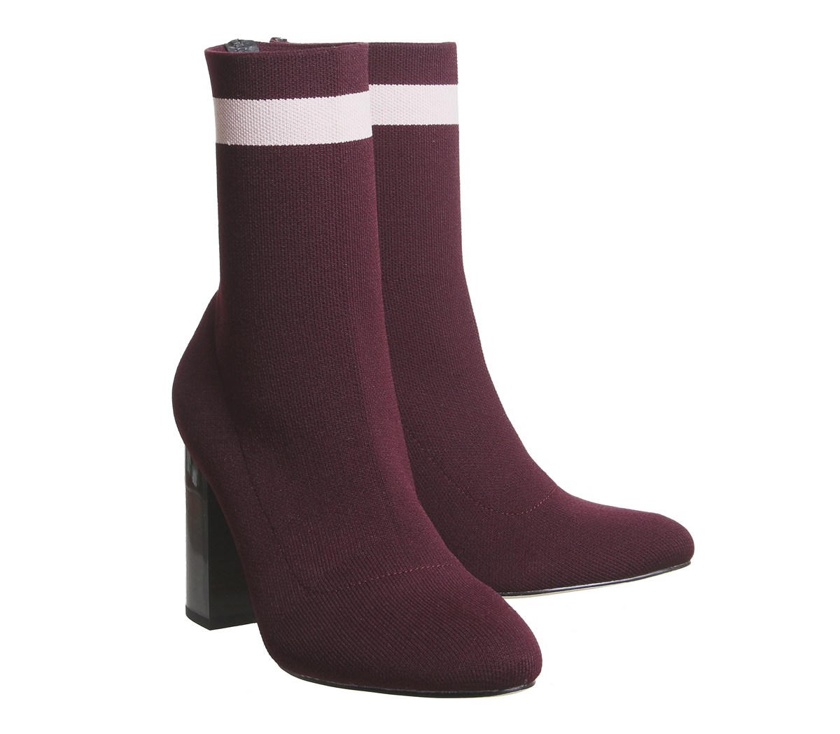 Alexis Boots Office Burgundy Sock Stripe Womens Pink With SUFgqxBBw