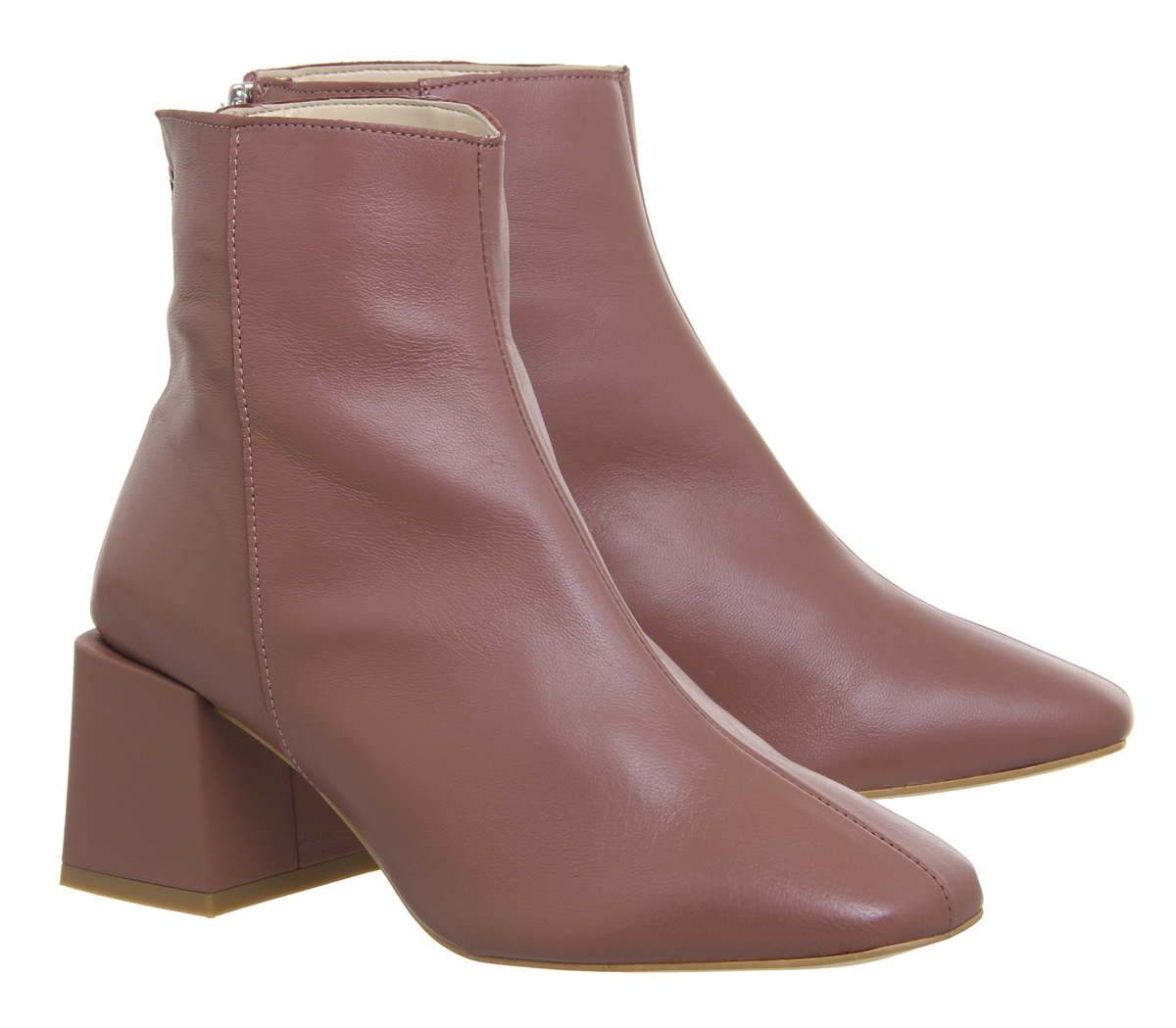 a54547d58f Womens Office Apricot Square Toe Block Heel Boots Pink Leather Boots ...