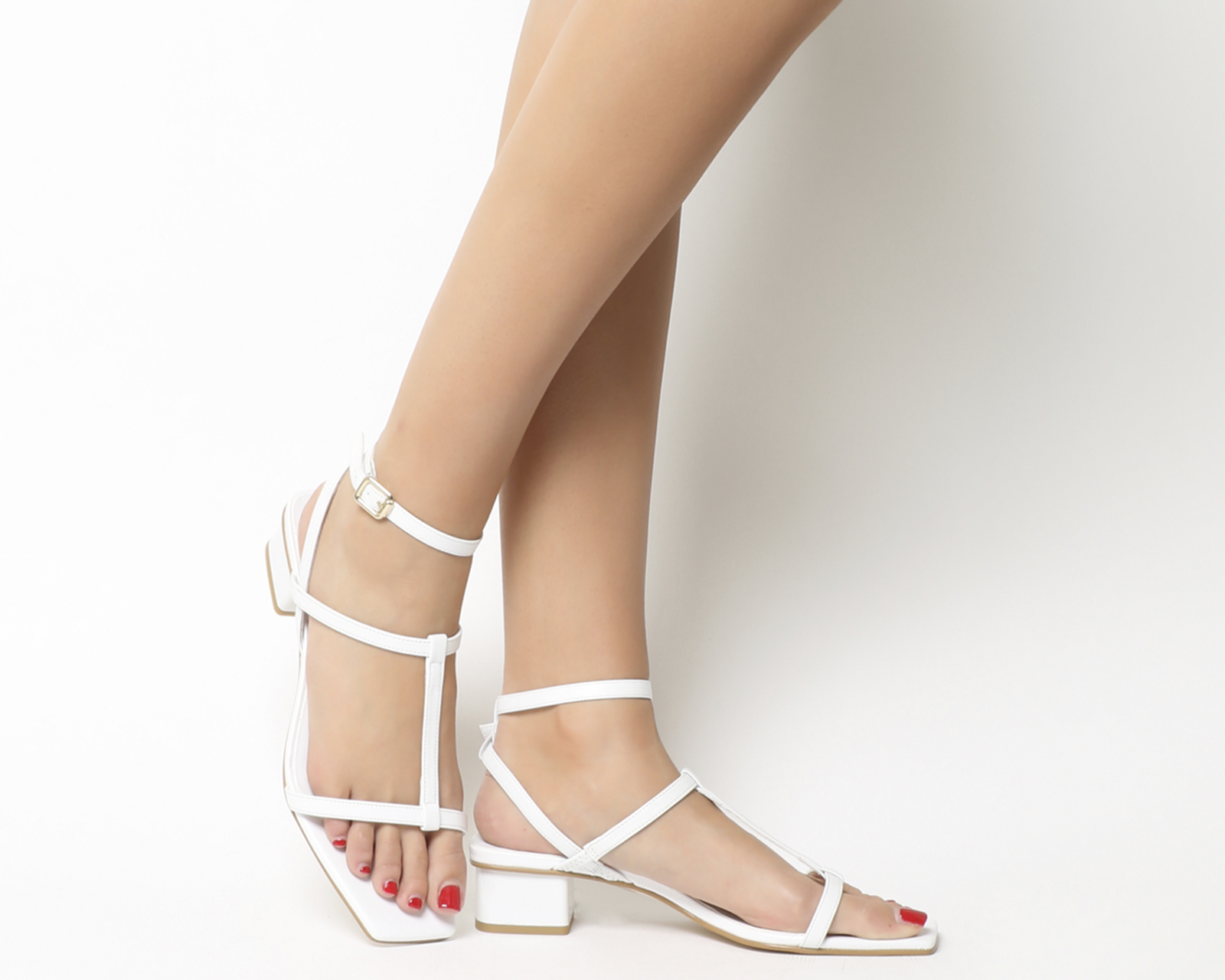 f7ca376efd6 Sentinel Womens Office Miley Square Toe Strappy Sandals White Leather Heels