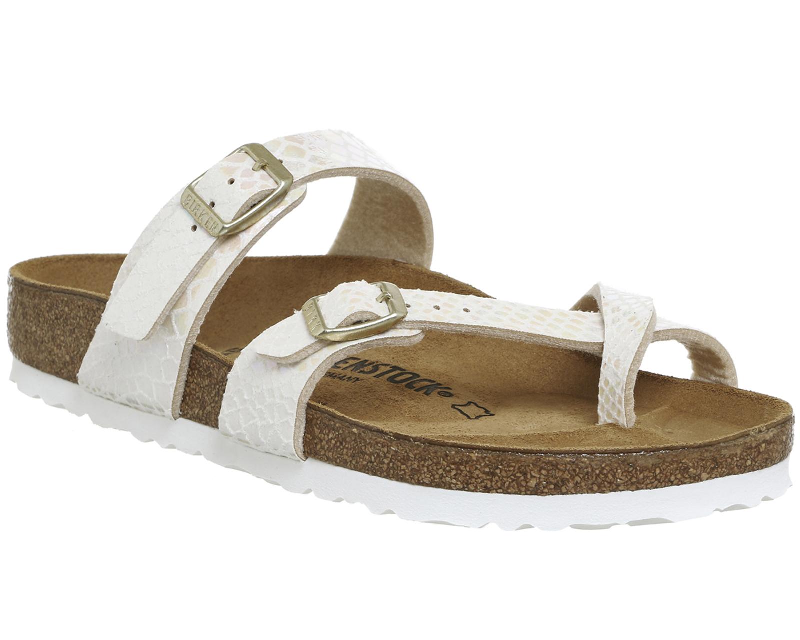 Womens Birkenstock Mayari Cross Strap Sandals Shiny Snake Cream Sandal Strape On