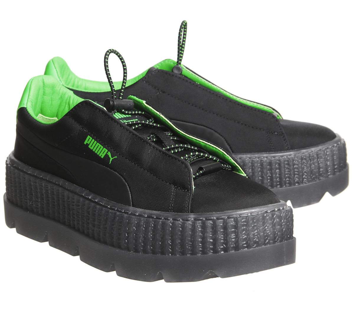 298a703d3a2 Womens Puma Fenty Cleated Creepers Surf Black Green Trainers Shoes ...