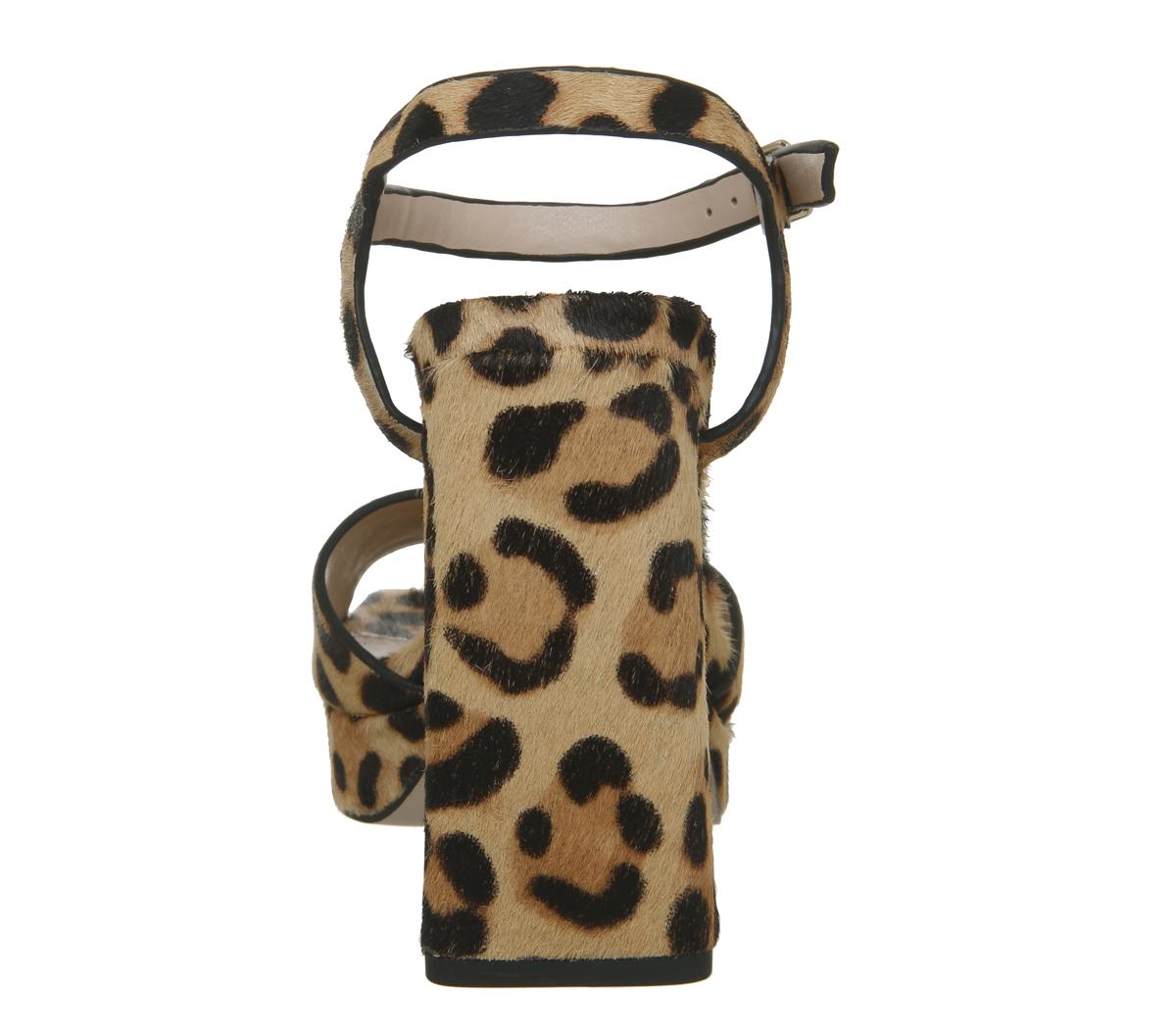 Womens Office Husky Square Toe Platform Heels Leopard Pony Leather Heels