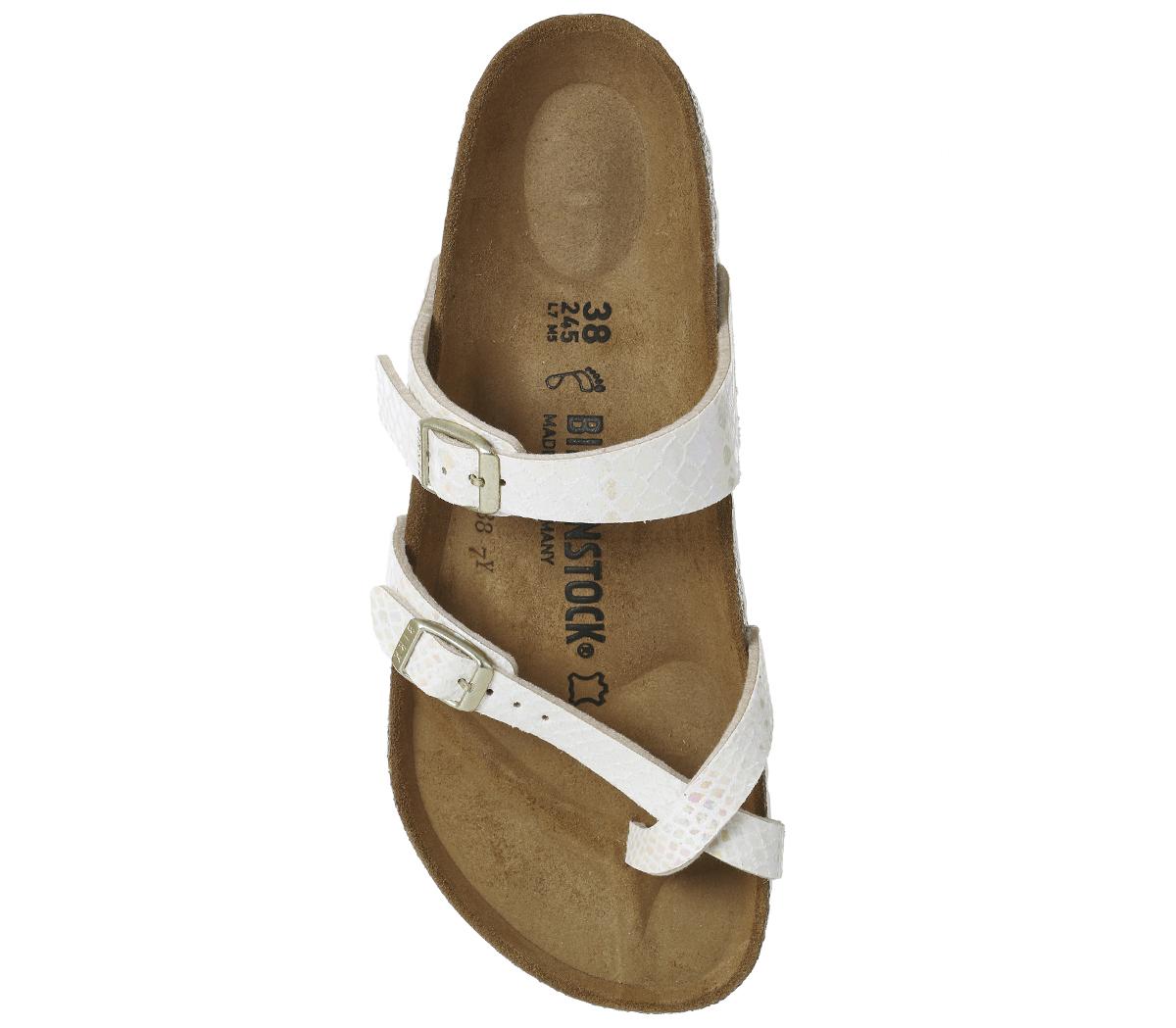 4767e01458d Womens Birkenstock Mayari Cross Strap Sandals SHINY SNAKE CREAM ...