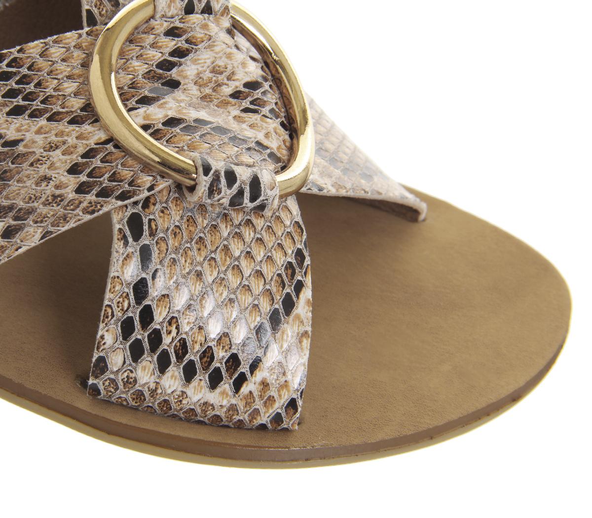Damenschuhe Office Spirit Ring Detail Mule Sandales SNAKE GOLD RING Sandales