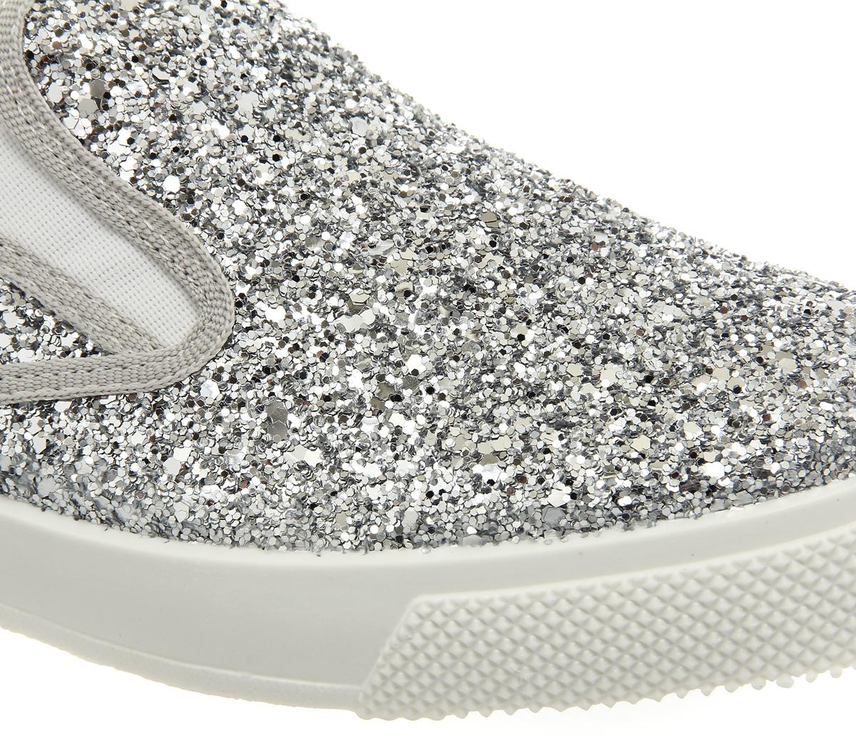 3da04a235514 Womens Office Kicker Slip On Shoes Silver Glitter Flats