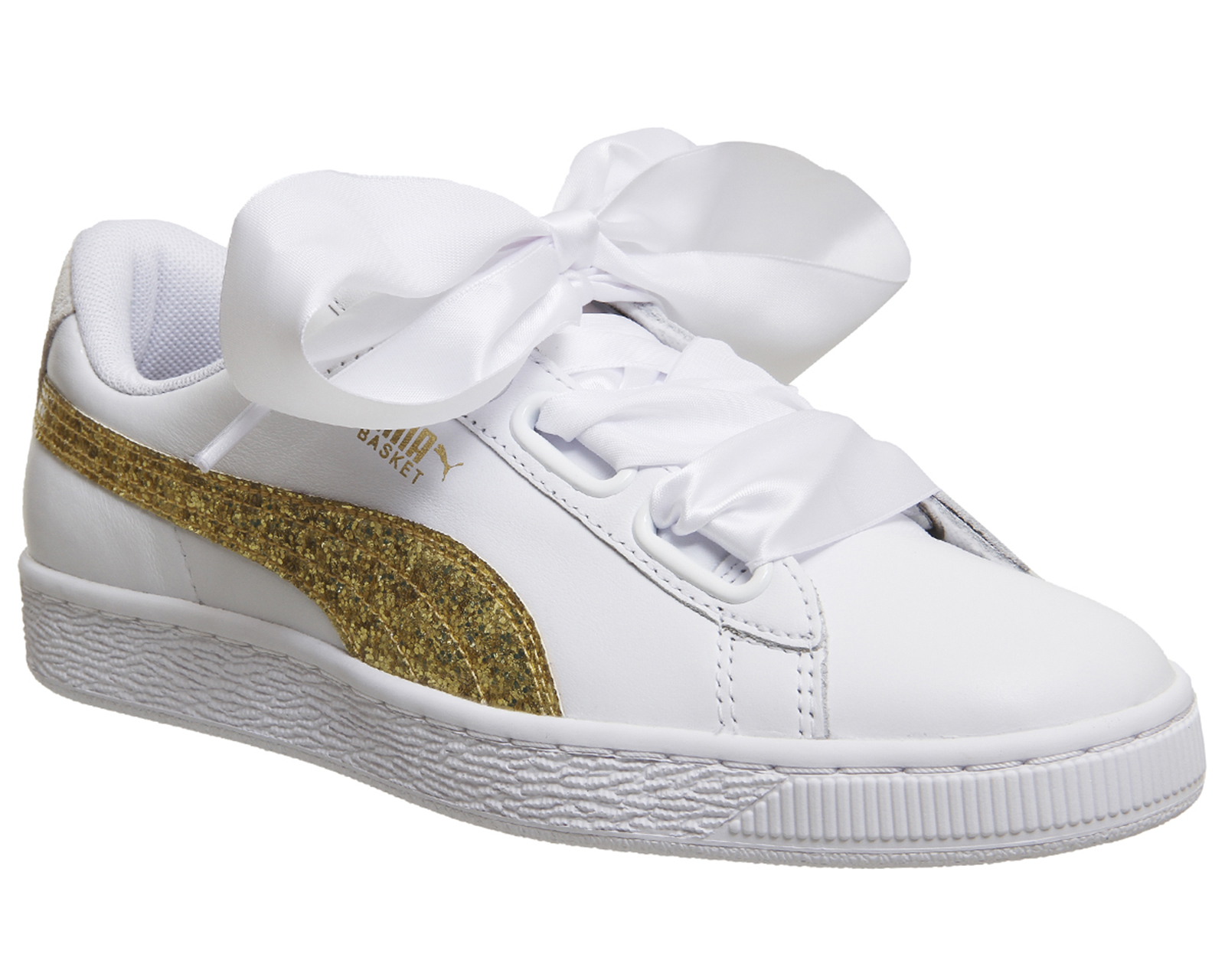 6411ae8fb08a5 Sentinel Womens Puma Basket Heart Trainers WHITE GOLD GLITTER Trainers Shoes