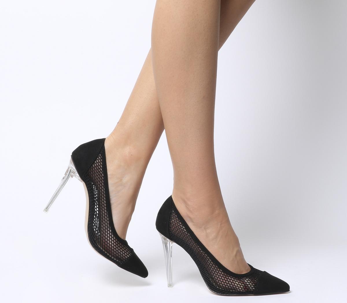 classic fit ab668 e539a Dettagli su Donna Office Hadie Trasparenti Scarpe Eleganti con Tacco Nero  Rete Tacchi