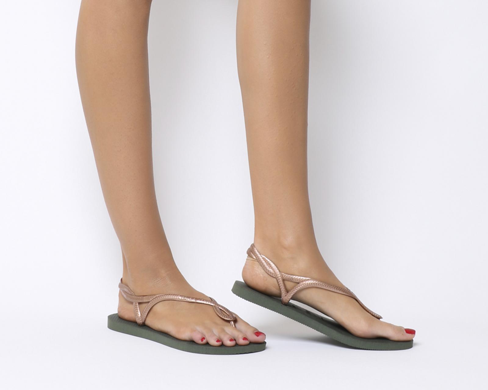 8cbc970311f Sentinel Womens Havaianas Luna Sandals Olive Rose Gold Sandals