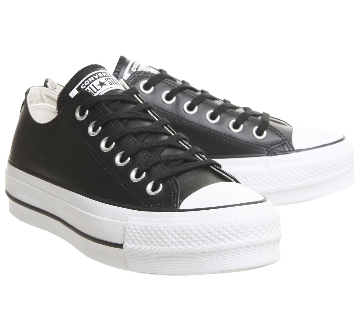 02675fb20835 SENTINEL Womens Converse All Star Lift basso in pelle scarpe da ginnastica nero  nero bianco formatori Sh