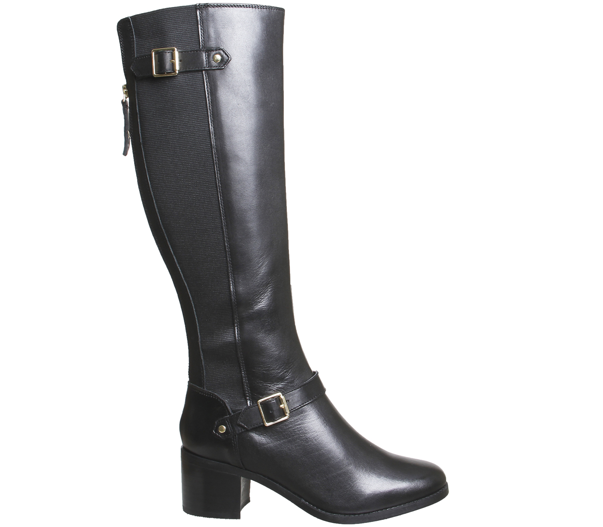 Womens Office BLACK Kestrel Mid Heel Riding Boots BLACK Office LEATHER Boots d7d5bc