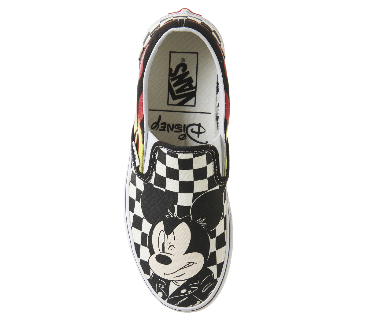 Sentinel Womens Vans Vans Classic Slip On Trainers Mickey And Minnie  Checker Flame Disney 70b0c79f8