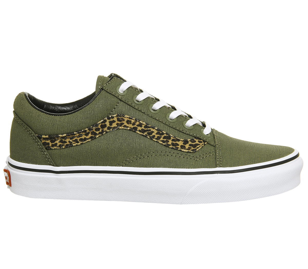 93b9c73c182 Sentinel Womens Vans Old Skool Trainers MINI LEOPARD ARMY GREEN WHITE  Trainers Shoes