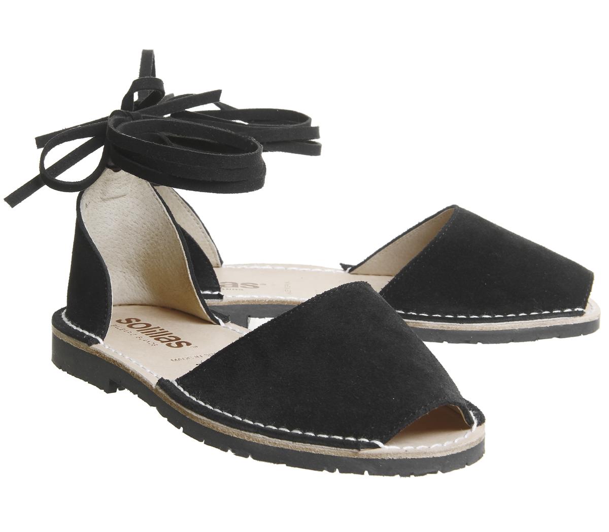 Damen Wildleder-Sandalen Solillas Ankle Sandalen Schwarz Wildleder-Sandalen Damen 7d82de
